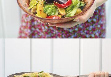 Salade de légumes grillés qui se transforme en plat de pâtes