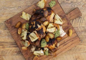 Poulet à la portugaise, grelots au gras de canard et salsa verde