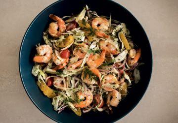 Salade de fenouil aux crevettes, orange et tomates cerises
