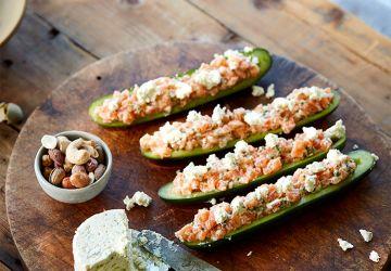 Concombres farcis au tartare de saumon & au Boursin