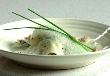Ravioli ouvert au risotto de légumes