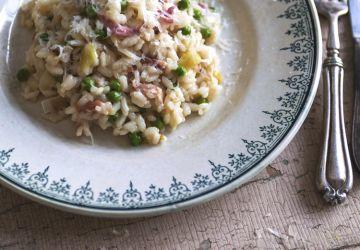 Risotto aux poireaux, pancetta & petits pois