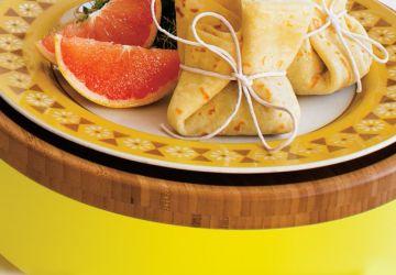 Baluchons de crêpes fines aux champignons, à la crème et au bacon