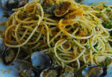 Spaghettis aux palourdes et à la poutargue