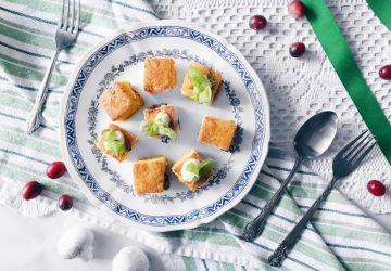 Croquettes de polenta aux champignons, canneberges et fromage