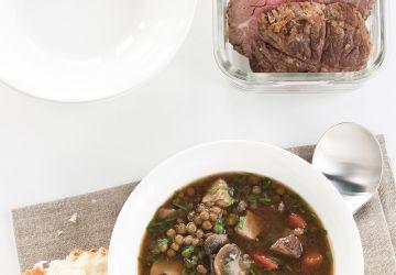 Soupe-repas épicée aux lentilles et au boeuf