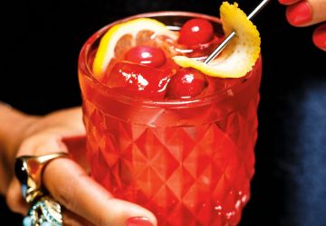 Mocktail au shrub canneberges-framboises