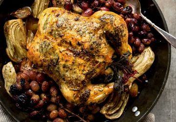 Poulet au fenouil et raisins grillés