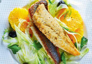 Poisson poêlé et salade d'orange au fenouil