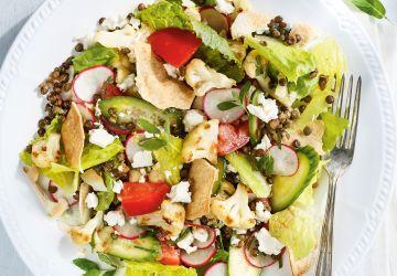 Salade-repas fattouche aux lentilles
