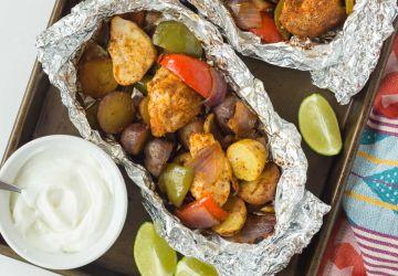 Fajitas au poulet en papillote d'aluminium