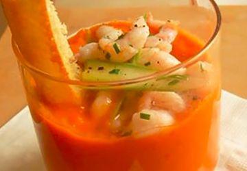 Gaspacho du marché et crevettes de Matane