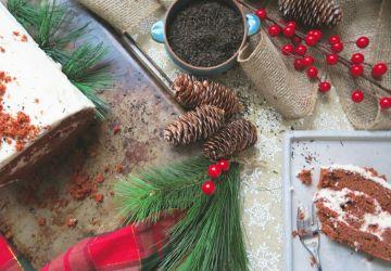 Bûche de Noël Red Velvet aux betteraves, fromage à la crème et thé Earl Grey