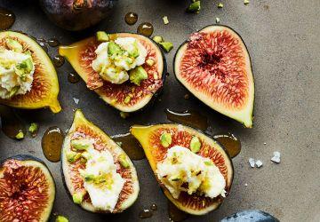 Bouchées de figue au chèvre, aux pistaches et au miel