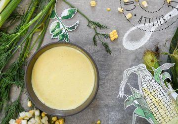 Velouté de maïs et salsa de fenouil-pomme-menthe