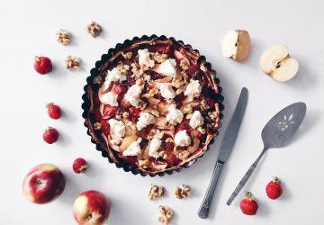 Tarte aux fruits d'automne, ricotta, miel et noix