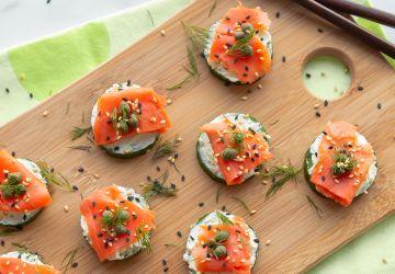 Bouchées de saumon et deconcombre