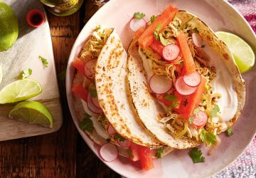 Tacos au poulet à la lime et au melon d'eau
