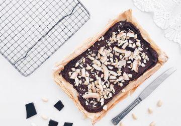 Carrés feuilletés au chocolat, amandes et érable