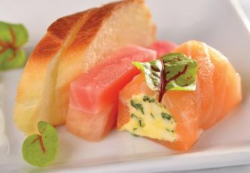Cannellonis de gravlax de saumon, émulsion à L'Extra Brie DoubleCrème