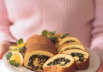 Roulade d'omelette aux épinards
