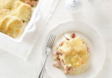 Gratin de poulet et jambon à la crème