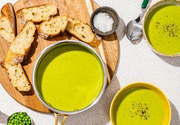 Crème de pois verts etcari