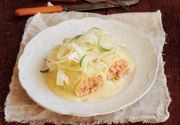Cannellonis de truite et salade de fenouil