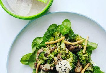 Salade de légumes grillés asiatique à l'hummus sésame et gingembre Fontaine Santé