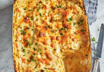 Lasagne au poulet et béchamel au céleri-rave