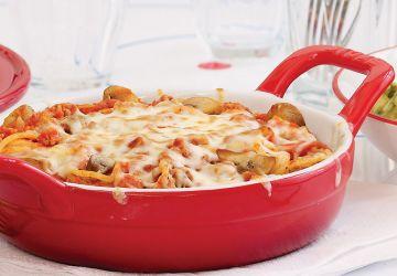 Spaghettis gratinés aux champignons
