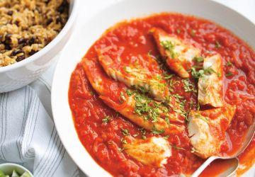 Riz à la mexicaine et poisson tomaté