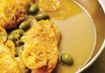 Poulet aux olives et au citron grillé