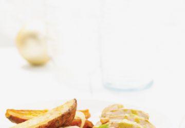 Poitrines de poulet marinées au pesto, légumes rôtis