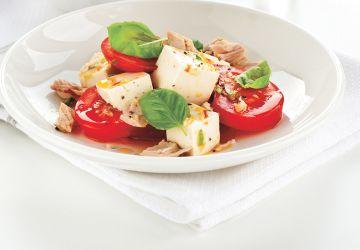 Salade caprese au tofu soyeux