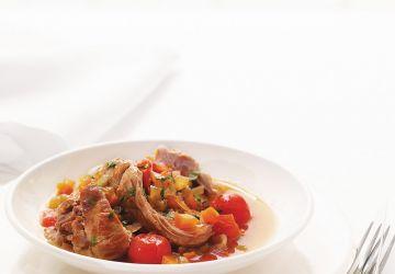 Rôti de veau braisé à la tomate cerise