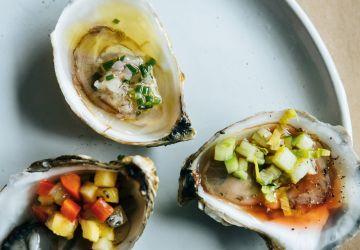 Huîtres et mignonnette à la lime et au gingembre
