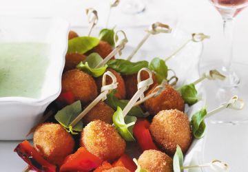 Croquettes de bocconcini au basilic et poivron rouge