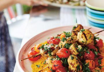 Brochettes de champignons et tomates