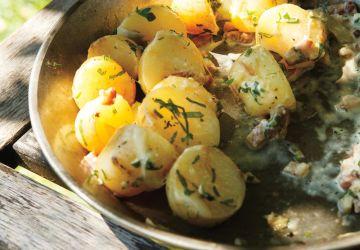Pommes de terre en papillote à la crème