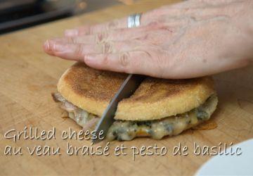 Grilled cheese au veau braisé et pesto basilic