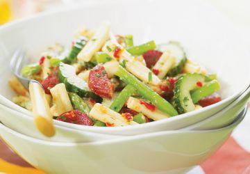 Salade de pâtes au chorizo et aux légumes verts