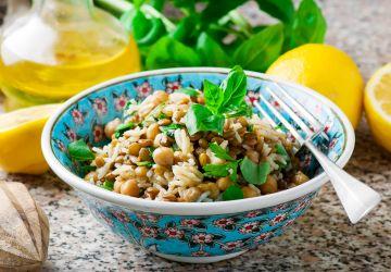 Salade de riz, lentilles et pois chiches