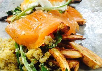 Salade de panais caramélisé, de saumon fumé et de mozzarella