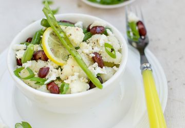 Salade de chou-fleur, haricots et féta
