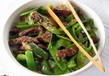 Boeuf chinois aux pois mange-tout